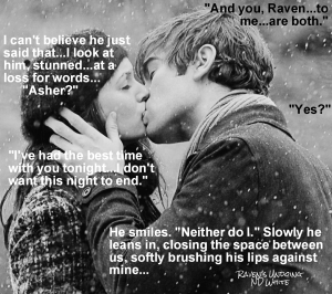 Asher kissing Raven in snow